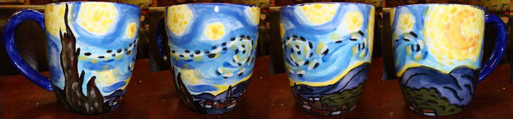 Design your own ceramic piece at our paint shop